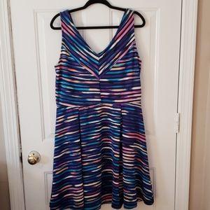 Multi Colored Empire Waist Mini Dress